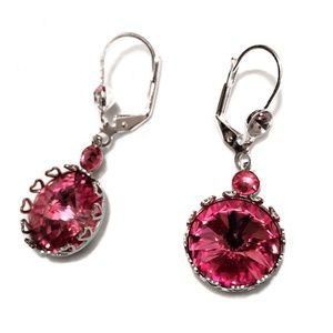 Jewelry - Round pink and silver shiny earrings, EUC